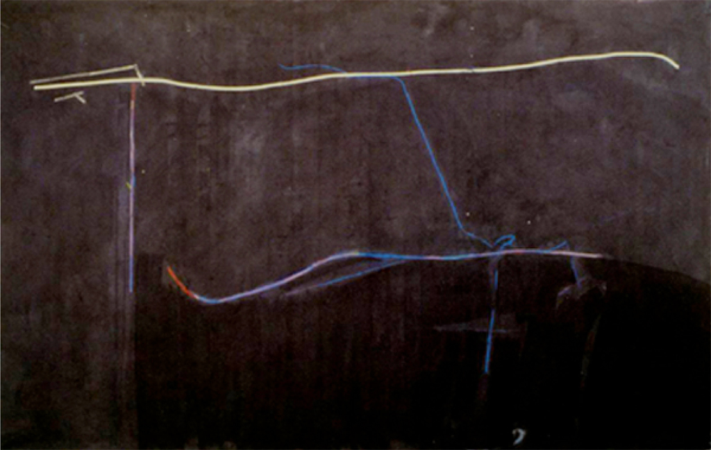 "Last Lay up, Unfixed Powdered Pigment, 6'9""x 11'6"", 1979"