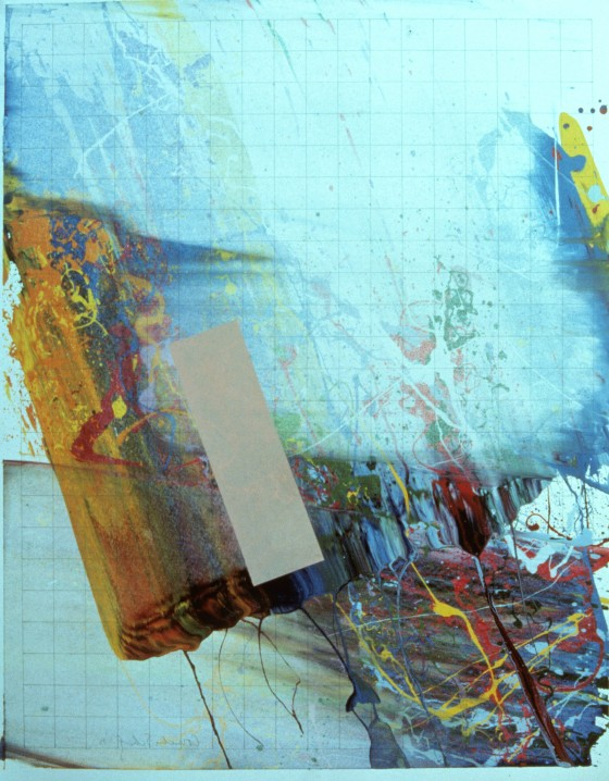 """Untitled, 1975 29"""" x 23"""", Enamel on graph paper"""